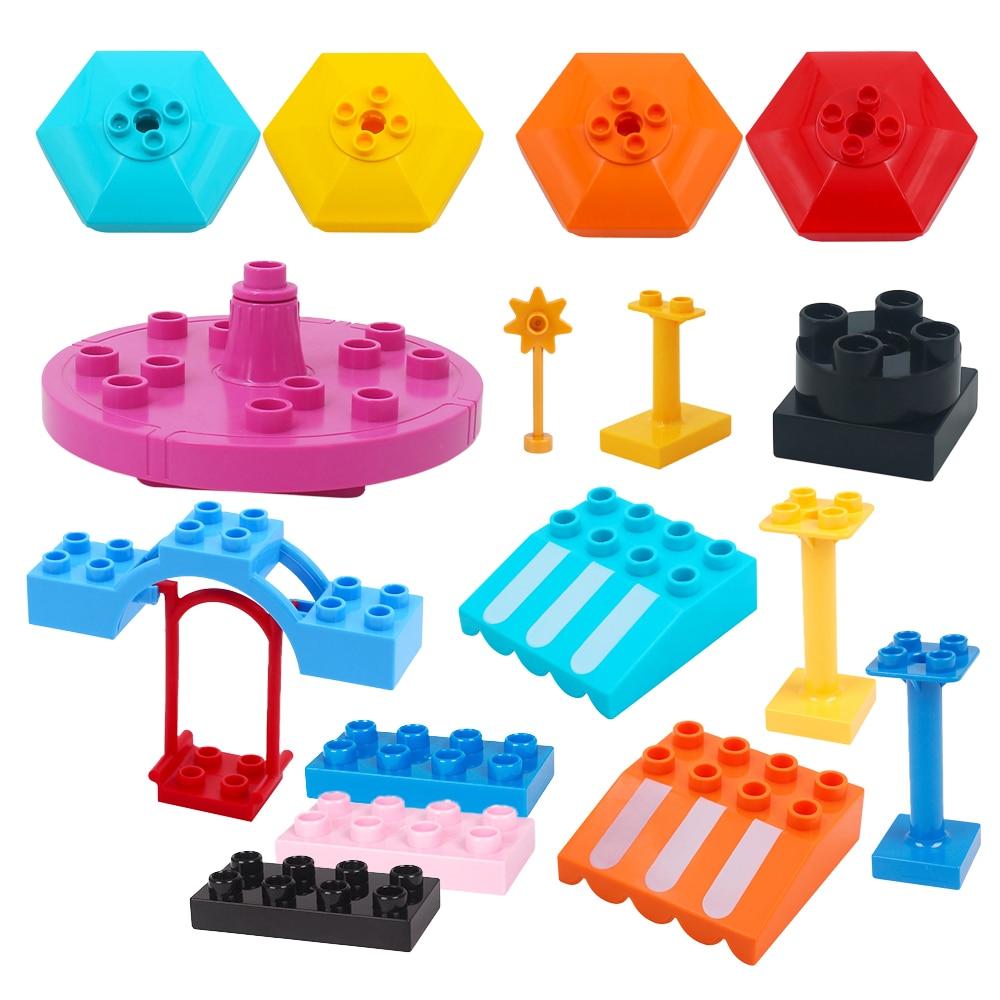 Blocks Amusement Park Accessory Swing Carousel Scenes Model Household Big Building Bricks DIY Toy For Children's Gift