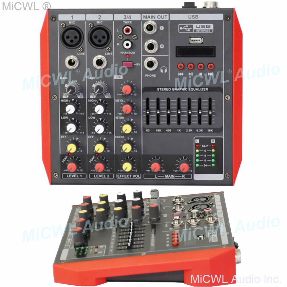 MG4 4 Channel Audio Bluetooth Mixer Mixing Console with 7-Band EQualizer USB Phantom Power 48V