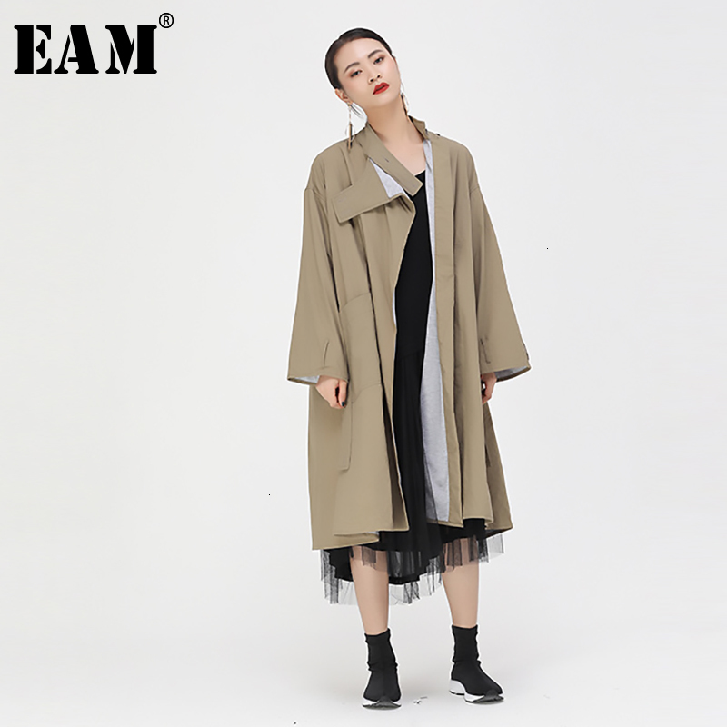[EAM] Women Long Split Big Size Trench New Stand Collar Long Sleeve Loose Fit Windbreaker Fashion Tide Autumn Winter 2019 1D938