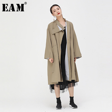 [EAM] Women Long Split Big Size Trench New Stand Collar Long Sleeve Loose Fit Wi