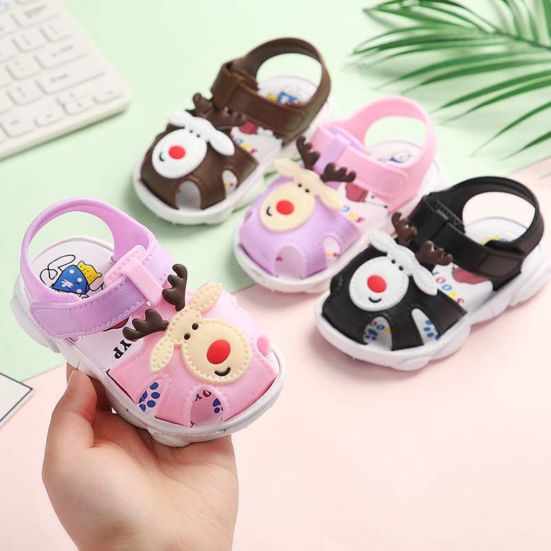 Casual Covered-toes Soft Kids Toddler Shoes Little Children's Beach Shoes Summer Cute Beer Animal Baby Boys Girls First Walkers