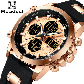 Readeel Men's Top Brand Luxury Chronograph Dual Display Sports Clock Waterproof Quartz Watches 1