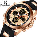 Mens Luxury Chronograph Gold นาฬิกาผู้ชาย Quartz ดิจิตอล Led กีฬานาฬิกาชายนาฬิกาชายกันน้ำนาฬิกาข้อมือ