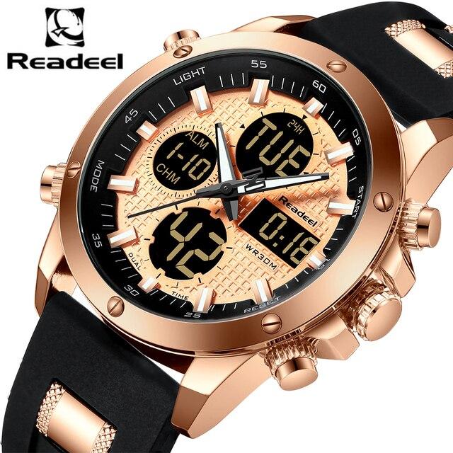 Readeel מותג יוקרה Mens שעונים גברים שעון הכרונוגרף זהב נשף ארבעה דיגיטלי Led ספורט שעון גברים זכר שעון עמיד למים שעוני יד