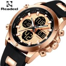 Мужские наручные часы Readeel, брендовые роскошные часы с хронографом, золотистые часы Quatz, цифровые светодиодные спортивные часы, мужские часы, водонепроницаемые наручные часы