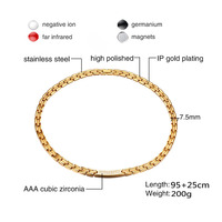 FXM 2020 necklace steel L12 ip plated man 10mm wide 2 color Magnet stone steel gold color 95+25cm big chain for punk style