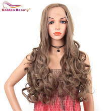 Synthetic Lace Front Wigs for Women Long Body Wave Wigs Heat Reisstant Brwon Gol