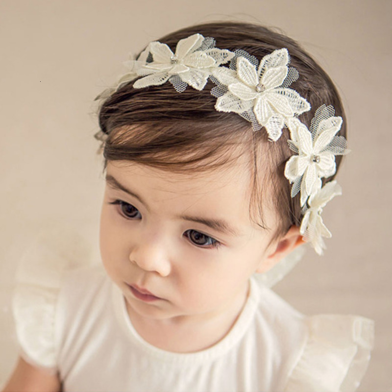 White Lace Headband Flower Baby Princess Girl Hairband Elastic Floral Hair Accessories Kids Headwear Turban Headbands Children