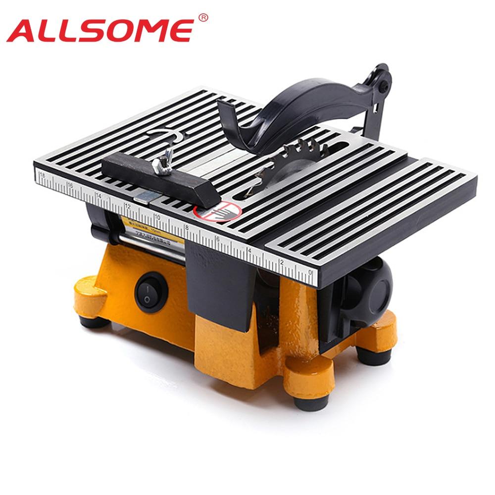 ALLSOME 220V Multifunction Mini Bench Saw For Cutting Wood Copper Aluminium 4inch Mini Table Saw Mini Cutting Machine
