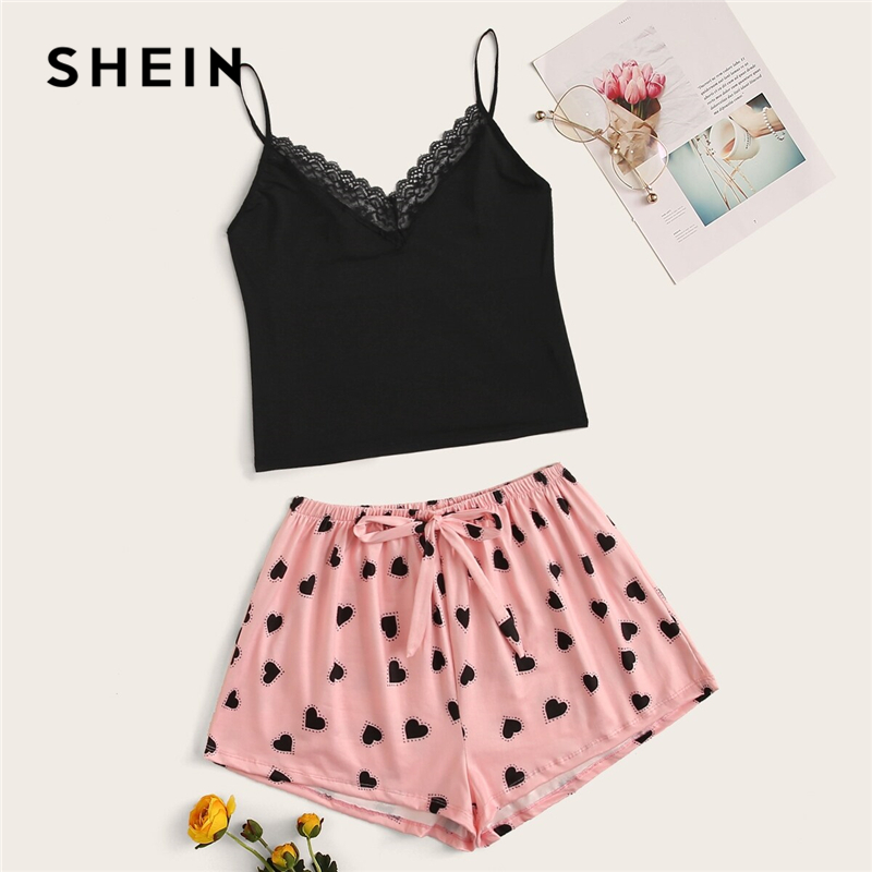 SHEIN Lace Trim Cami Black Top With Heart Pink Shorts PJ Set Women Autumn Sexy Sleeveless Sleepwear Pajama Sets