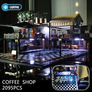 Image 5 - 2059 шт создатель эксперт модульные здания кафе Кофейня с светильник строительные блоки кирпичи игрушки для детей