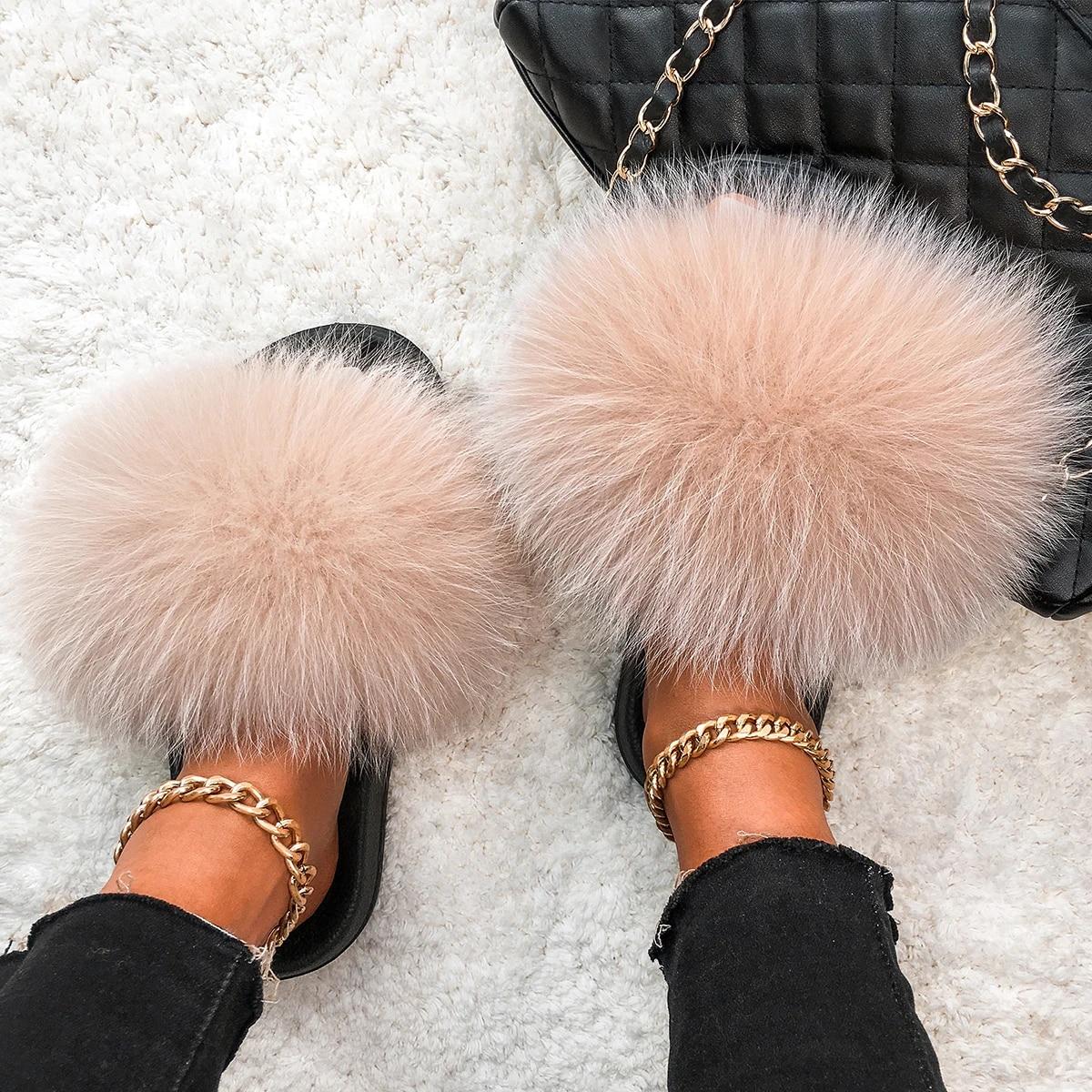 Raccoon Fur Slippers Plush Fox Fur Slides Flip Flops Sandals Cute Shoes,Yellow Fox Fur,7.5
