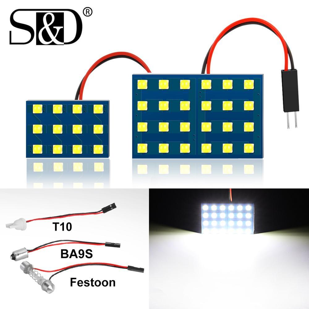 1Pc 12 24 SMD 3030 LED Auto dôme panneau lumineux voiture intérieur lampe de lecture toit ampoule avec T10 W5W BA9S C5W Festoon 3 adaptateur Base