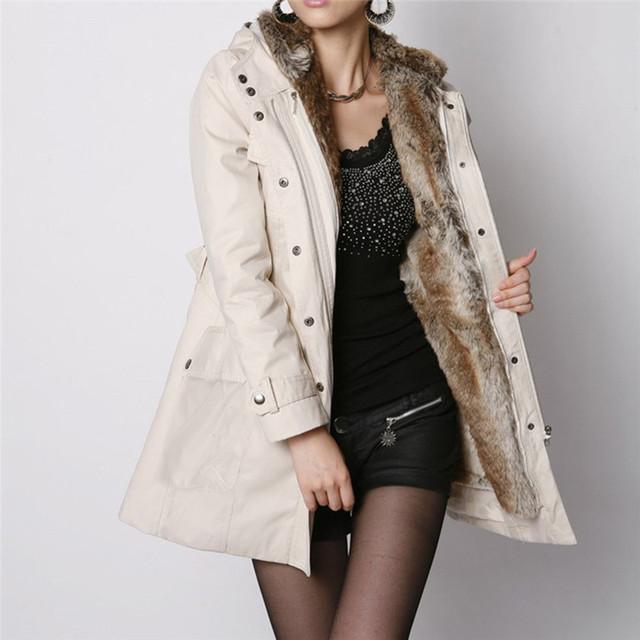 Women's Sweater Ladies Fur Lining Coat Winter Warm Thick Long Jacket Hooded