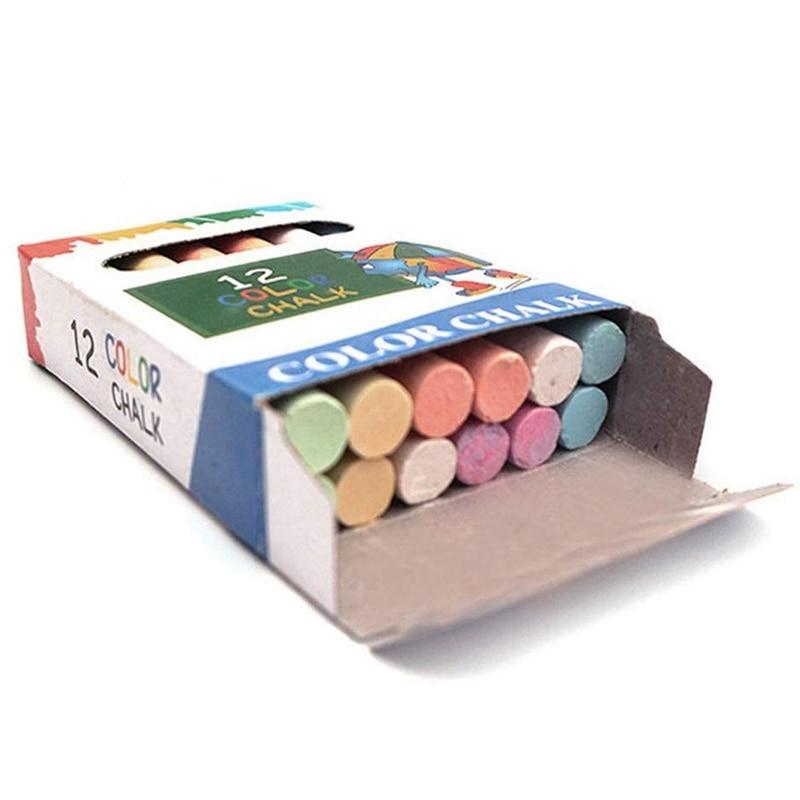 12 X Colored Chalk Sticks Blackboard Pavement Kids Childrens Art Craft Colour