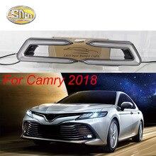 цена на For Toyota Camry 2018 2019 turn signal relay car-styling waterproof 12V LED CAR DRL Daytime running lights fog lamp cover