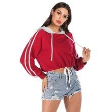 Casul Short Hoodies Women Minimalist Style Hooded Long Sleeve Cotton Pullovers Korean Crop Sweatshirt Ladies Red Streetwear 2019