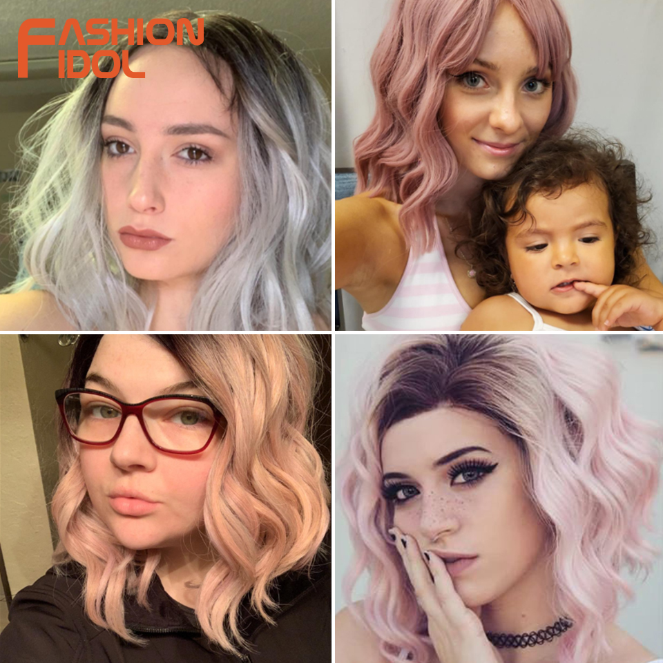 FASHION IDOL 12 Inch Synthetic Wig Cosplay Short Bob Lace Front Wig Ombre Blonde Pink Wavy Synthetic Hair Wigs For Black Women