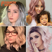 цена на FASHION IDOL 12 Inch Synthetic Wig Cosplay Short Bob Lace Front Wig Ombre Blonde Pink Wavy Synthetic Hair Wigs For Black Women