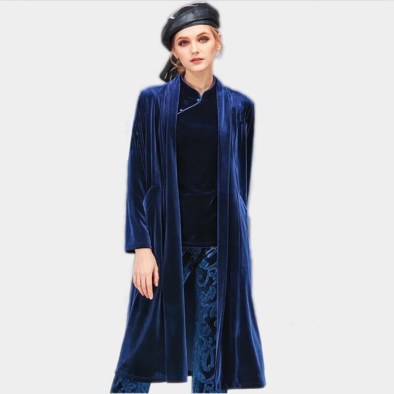 Women Velour Long Coat V-Neck Collar Full Sleeve Velvet Female Cardigan Coat long Outerwear Casual Trench Coat Plus Size M-8XL