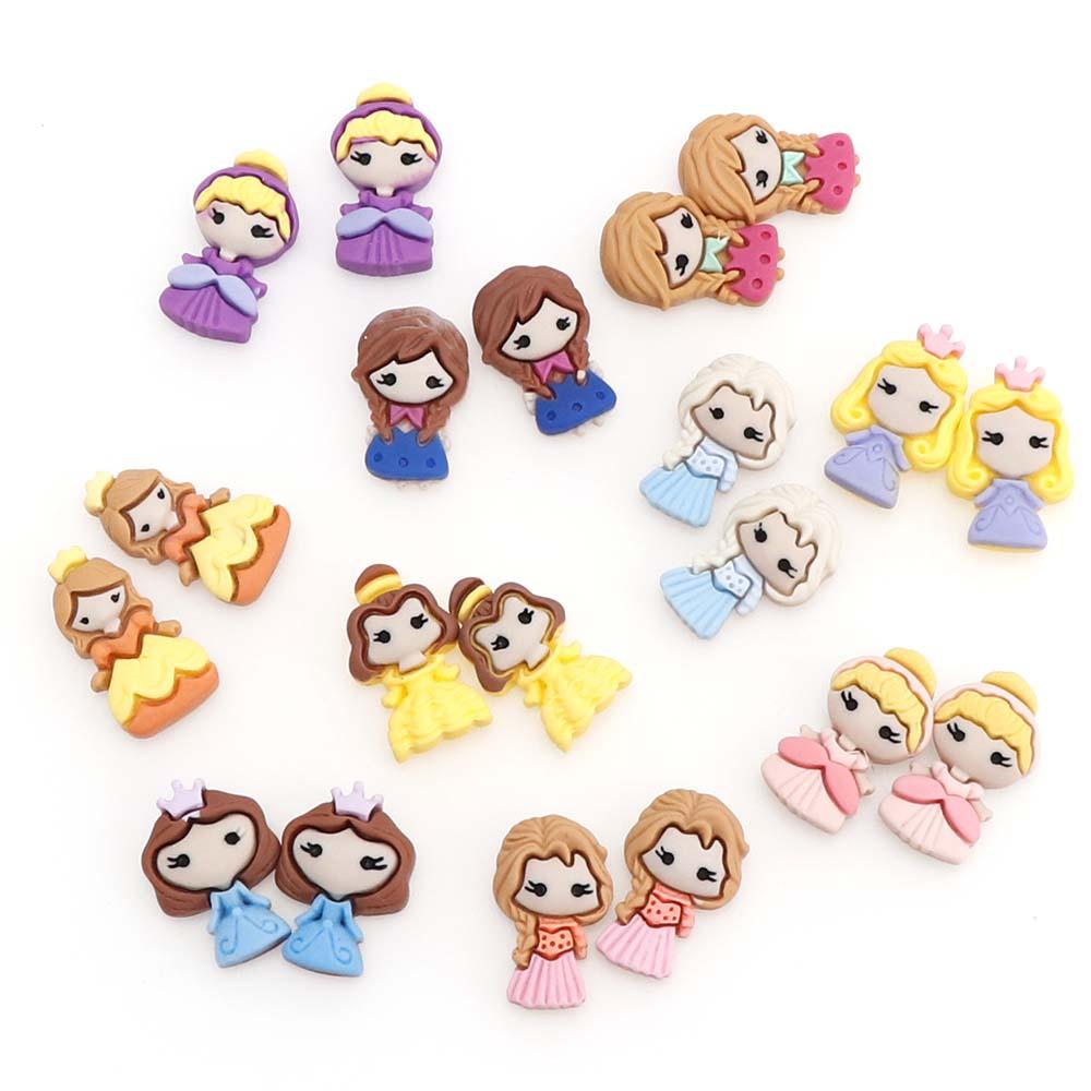 10Pcs/set Cut Convex Resin Cartoon Little Princess Scrapbook Home Accessories Mobile Phone Case DIY Jewelry Accessories