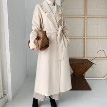 Coat Trench Wool-Blend Beige Women Wollen Mid-Length Belt