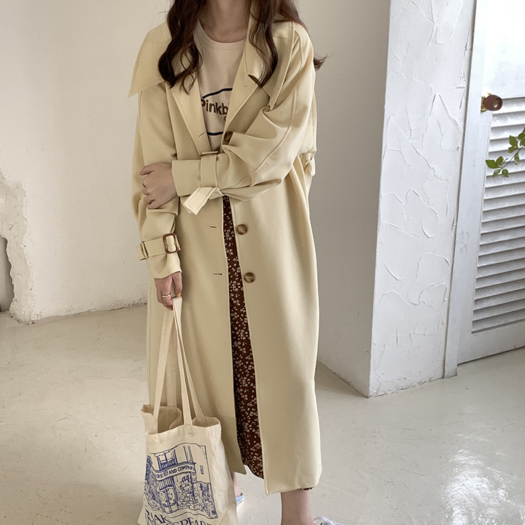 European brand design fashion light yellow long trench coat for women plus size loose single breasted windbreaker with belt