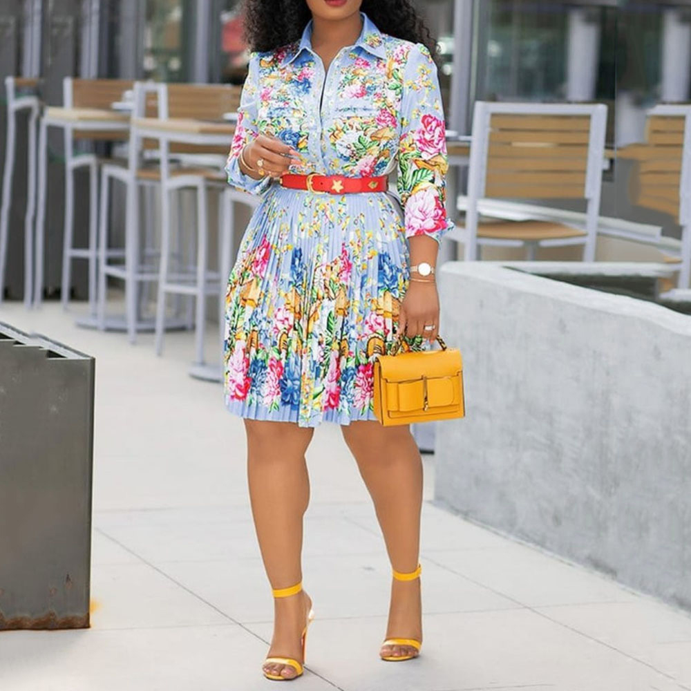 Floral Pleated Dress Women Casual Office Sexy Plus Size 4XL Autumn 2019 Boho African Elegant Street Holiday Chic Printed Dresses