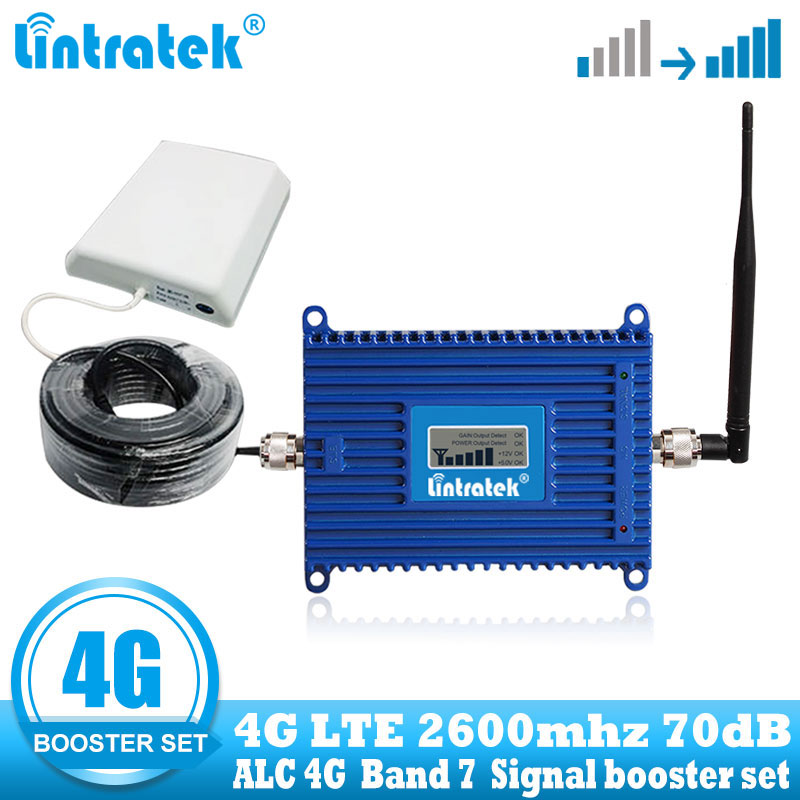 Lintratek 4G LTE 2600 Cellular Signal Amplifier Booster 4G Internet Mobile Cell Phone Booster Repeater + Antenna With 10m Cable