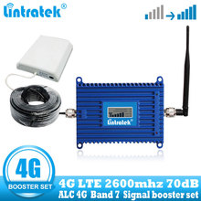 Lintratek 4G LTE 2600mhz ALC 휴대 전화 신호 증폭기 70dB 4G 인터넷 휴대 전화 셀룰러 부스터 리피터 + 안테나 케이블