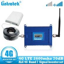 Lintratek 4G LTE 2600mhz ALC cep telefonu sinyal amplifikatörü 70dB 4G Internet cep telefonu hücresel Booster tekrarlayıcı + anten kablo