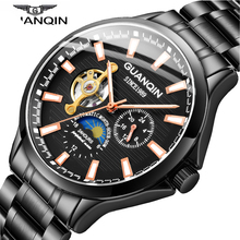 GUANQIN 2018 新しい腕時計メンズ防水自動発光男性腕時計トップブランドの高級スケルトン時計男性レザー erkek kol saati