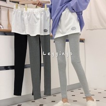 High Waist Leggings for Women Letter Embroidery Fake Two Pieces Womens Leggins Gray Black Culottes Woman Clothes
