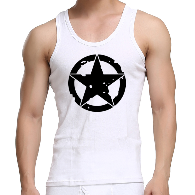 Casual Men   Tank     Tops   Captain Shield Printed Fitness Sweat Sleeveless Vest Cotton Muscle   Tops   Slim Light Sportswear Underwear   Top