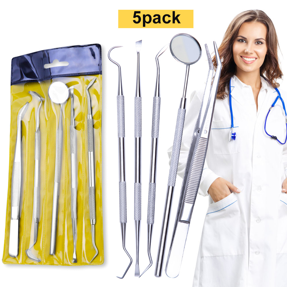 5PC/set Stainless Steel Dental Mirror Dental Tool Set With Bag Mouth Mirror Dental Kit Instrument Oral Care Dentist Prepare Tool(China)