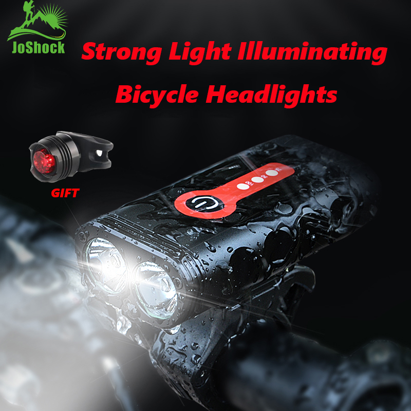 Joshock Bicycle Light L2/T6 USB Rechargeable 4400mAh Light IPX6 Waterproof 5Modes Headlight Bike Accessories With Taillight