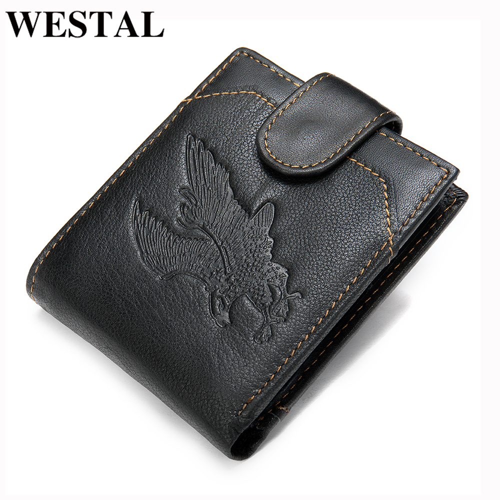 WESTAL Men's Purse Genuine Leather Men's Wallet Vintage Purse For Men Credit Card Holder Male Wallet Slim Money Bag For Men 7040