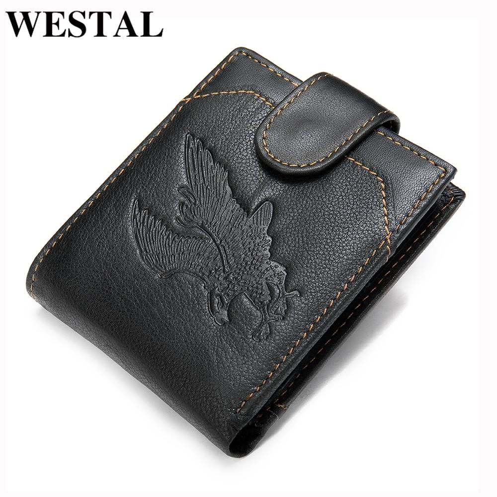 WESTAL Men's Purse Genuine Leather Men's Wallet Vintage Purse For Men Credit Card Holder Male Wallet Slim Money Bag For Men 7040