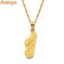 Anniyo pingente 3.2cmx1. cm/madagascar mapa colar pingente para mulher cor de ouro jóias áfrica mapas malgaxe moda #006910