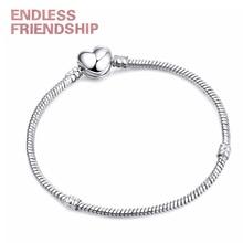 New Fashion Love Clasp Snake Chain Charm Bracelet Silver Color Fit Original Brand Bracelet For Women Jewelry 17CM-21CM цены онлайн