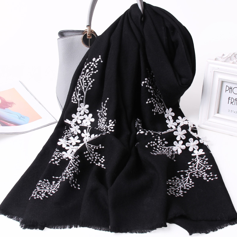 Flower Embroidery 100% Wool Scarf Women Warm Soft Autumn Wool Shawls Wraps Winter Ladies Large Size Sheep Wool Scarves Black
