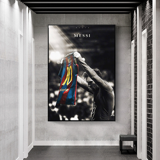 Football Sport Star Lionel Messi Retro Poster Prints Soccer Player Canvas Painting Room Wall Art Picture Home Decoration Cuadros 8