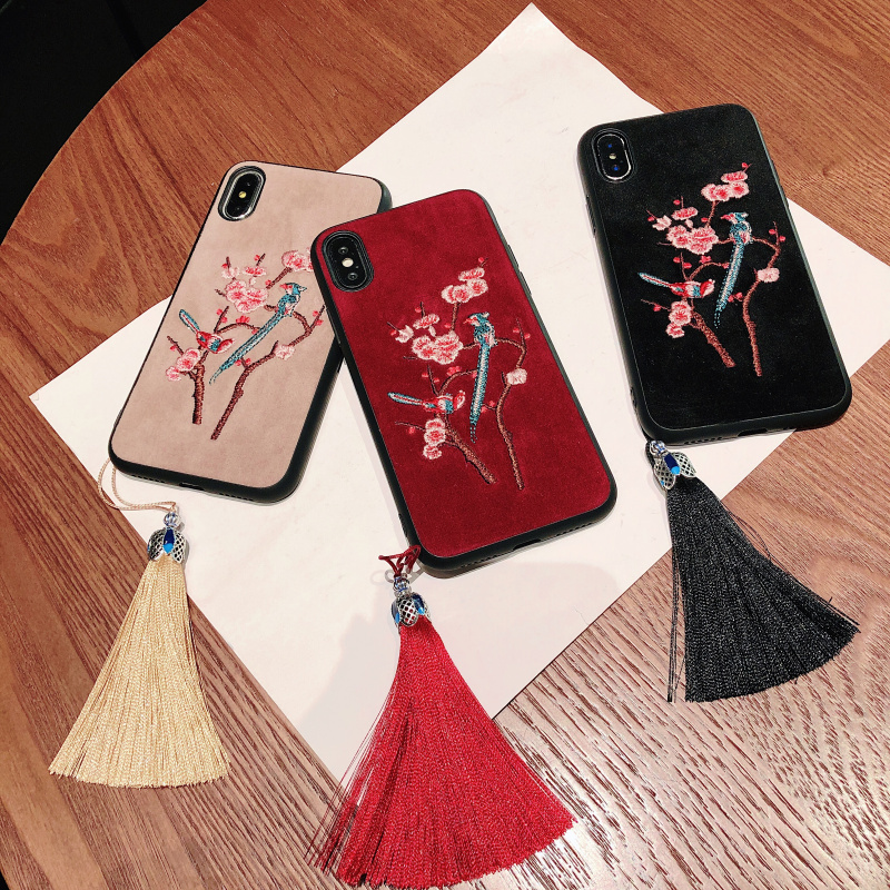 Chinese guy Plum blossom iPhone XS Max XR X 8 7 Plus 11 Pro luxury mobile phone case stylish shockproof patch shell