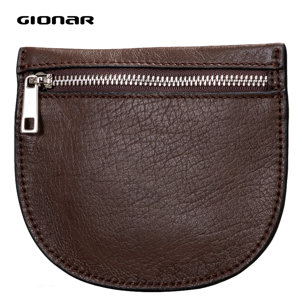 GIONAR Genuine Cow Leather Kawaii Small Purse For Coins Little Mini Money Bag Zipper Wallet Pouch