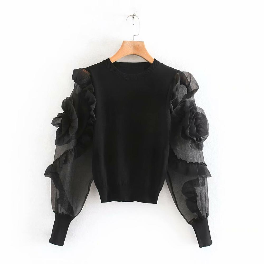 2020 New Women Pleated Ruffles Flower Appliques Sleeve Patchwork Knitting Blouses Shirts Women O Neck Basic Blusas Tops LS6105