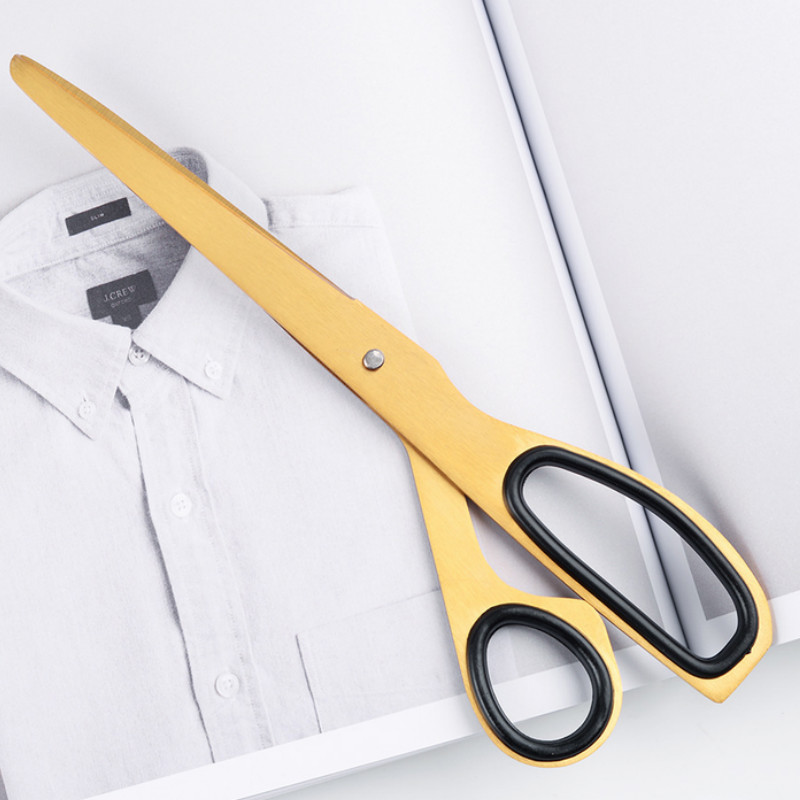 Asymmetric Scissors Stainless Steel Simple Design Golden Scissors Simple Office Household Brass Cutting Supplies Scissors