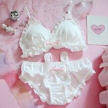 Japanese Lolita Kawaii Bow Ruffle White Underwear Set Sexy Female Cute Rabbit Ears Lingerie Womens Bra & Panties Set Bras