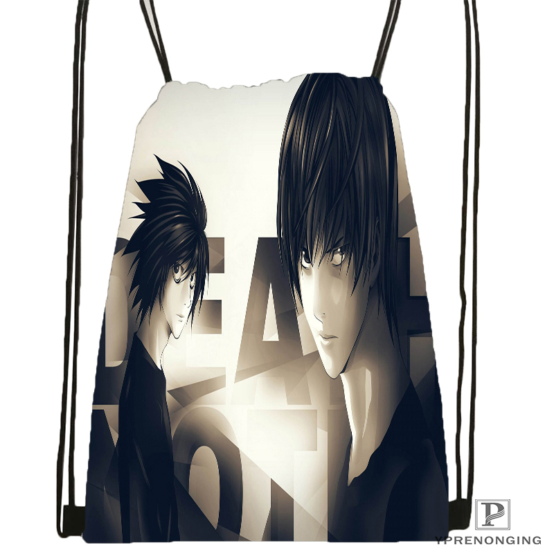 Custom Death Note  Drawstring Backpack Bag Cute Daypack Kids Satchel (Black Back) 31x40cm#180531-04-03
