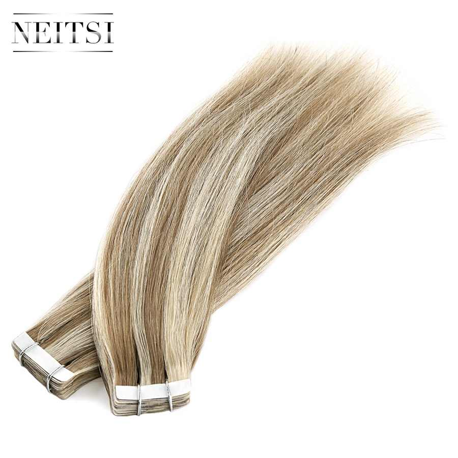 "Neitsi Straight Skin Weft Adhesive Hair None Remy Tape In Human Hair Extensions 12"" 16"" P14/24K# Double Side Tape Piano Color"