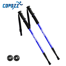 One Pair Hiking Camping Anti-Shock Walking Sticks Telescopic Trekking Poles Ultralight Canes With Rubber Tips Protectors